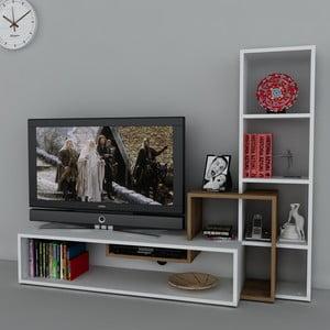 Televizní stěna Stab White/Walnut, 39x143,6x123,4 cm