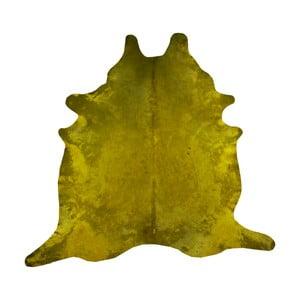 Covor din piele de vacă, 255 x 226 cm, galben muștar