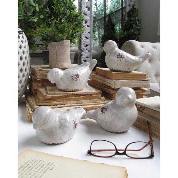 Sada 4 dekorativních ptáčků Antique White