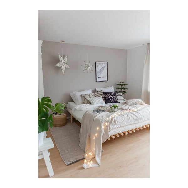 Černý rám postele z borovicového dřeva Karup Pace,140 x 200 cm