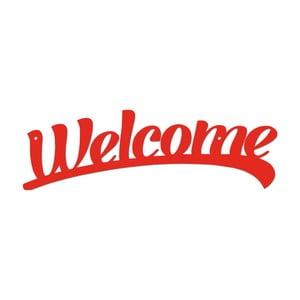 Červená kovová nástěnná dekorace Welcome