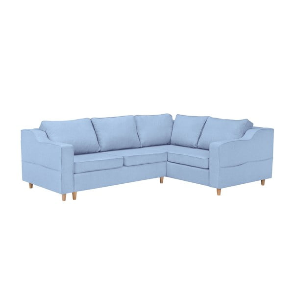 Jasnoniebieska rozkładana 4-osobowa sofa Mazzini Sofas Jonquille, prawostronna