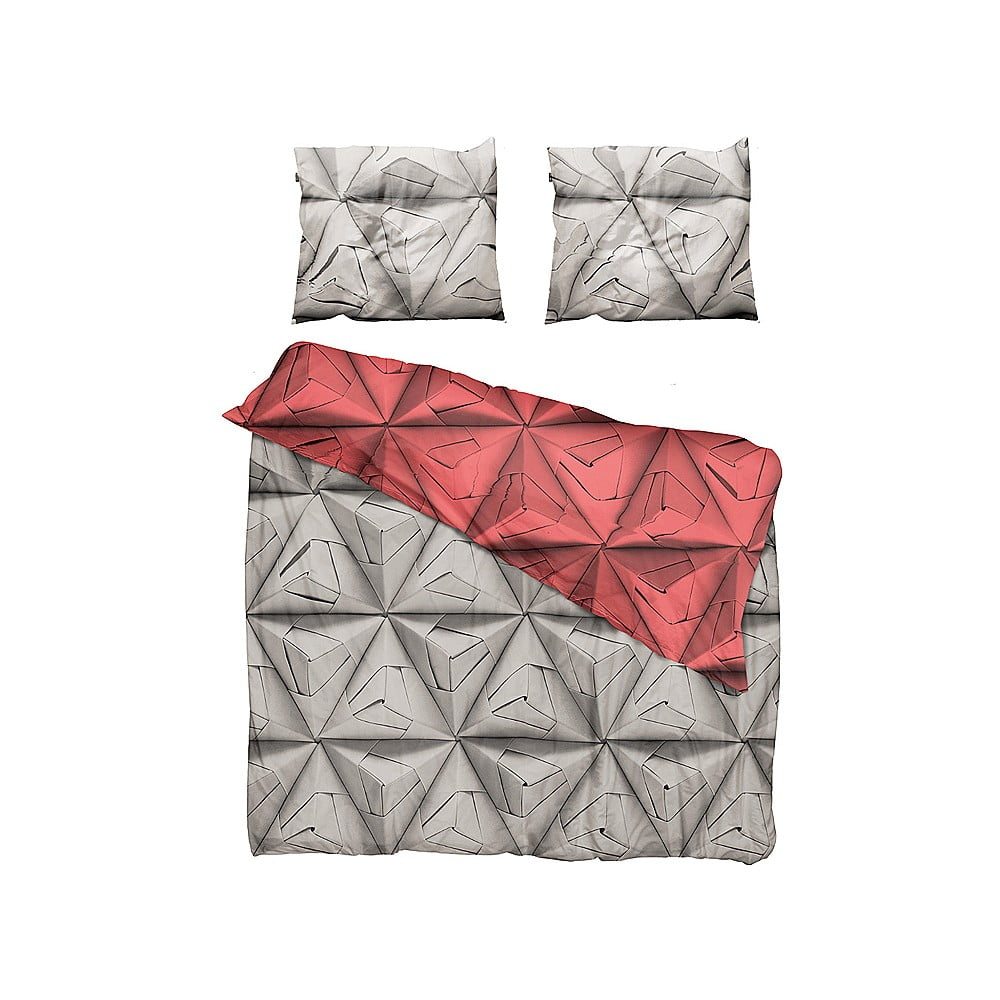 Červeno-hnědé povlečení Snurk Monogami, 200 x 200 cm