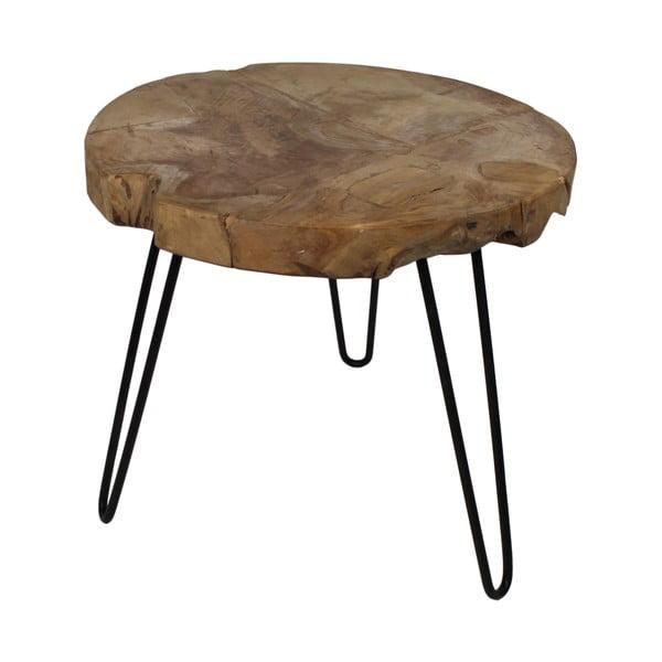 Odkladací stolík z teakového dreva HSM Collection Helen, ⌀ 55 cm