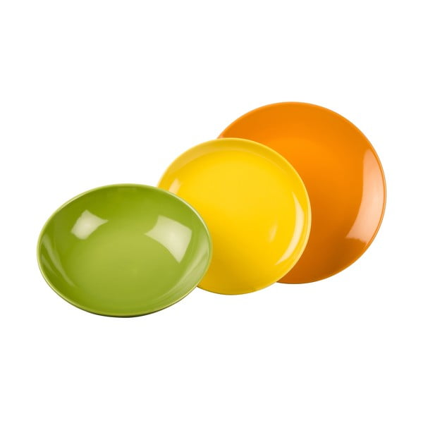 18dílná sada talířů Kaleidos, žluto-zeleno-oranžová
