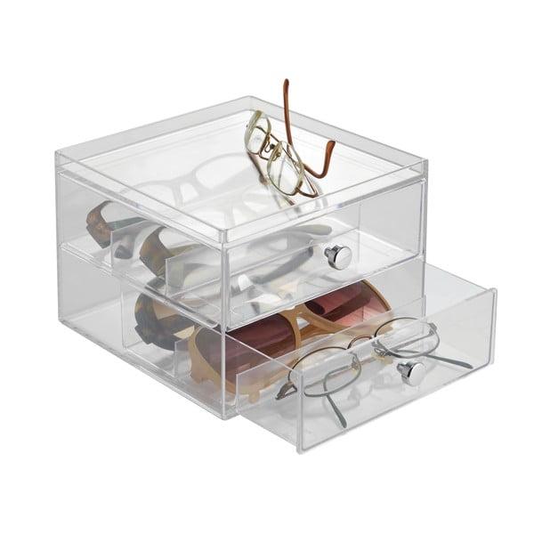 Transparentní úložný box s 2 šuplíky iDesign Drawers, výška12,5 cm