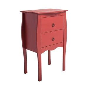 Červený odkládací stolek se 2 zásuvkami z borovicového dřeva SOB Oculus