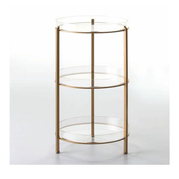 3-poschodový odkladací stolík v zlatej farbe, 40×73 cm
