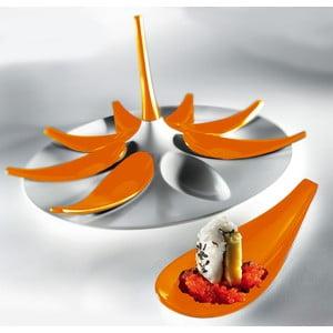 Set pentru aperitive alb-portocaliu Entity