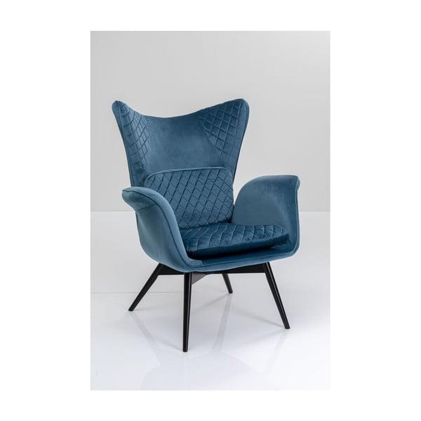 Modré sametové křeslo Kare Design Tudor