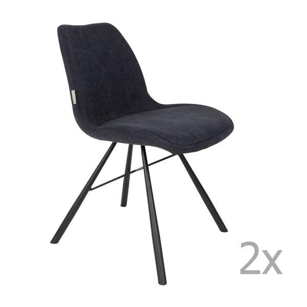 Set 2 scaune Zuiver Brent, albastru închis