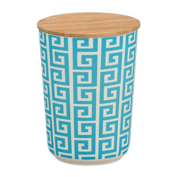Modrobílý úložný box s bambusovým víkem Wenko Edge, 700ml