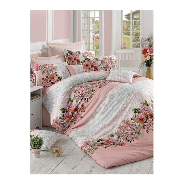Lenjerie de pat cu cearșaf History Pink, 200 x 220 cm