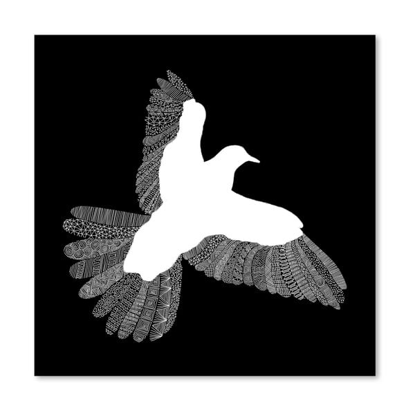 Plakát Bird Black od Florenta Bodart, 30x30 cm