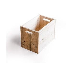 Cutie din lemn cu detalii de culoare deschisă Antique Wood, înălțime 33,5 cm