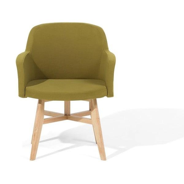 Zelené křeslo s nohami z kaučukového dřeva Monobeli Zanda