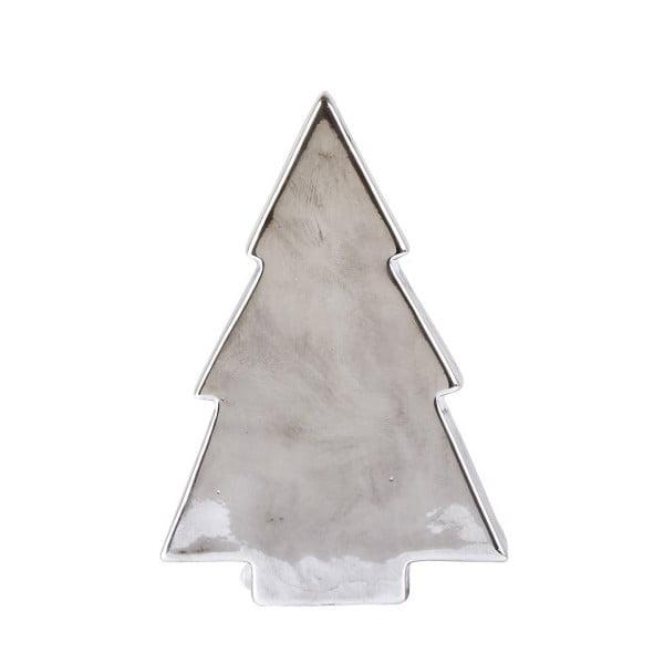 Dekorativní keramická soška ve stříbrné barvě KJ Collection Tree Silver Matt, 16,4 cm