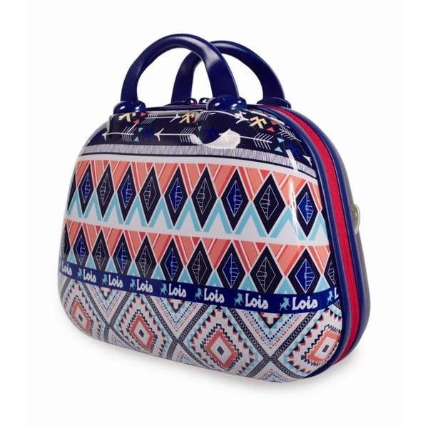 Modrý cestovní kosmetický kufřík s barevnými vzory Lois