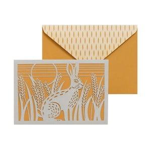 Set 10 felicitări cu plic  Portico Designs FOIL Folklore Hare