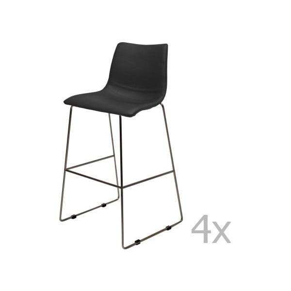 Sada 4 černých barových židlí Canett Delta