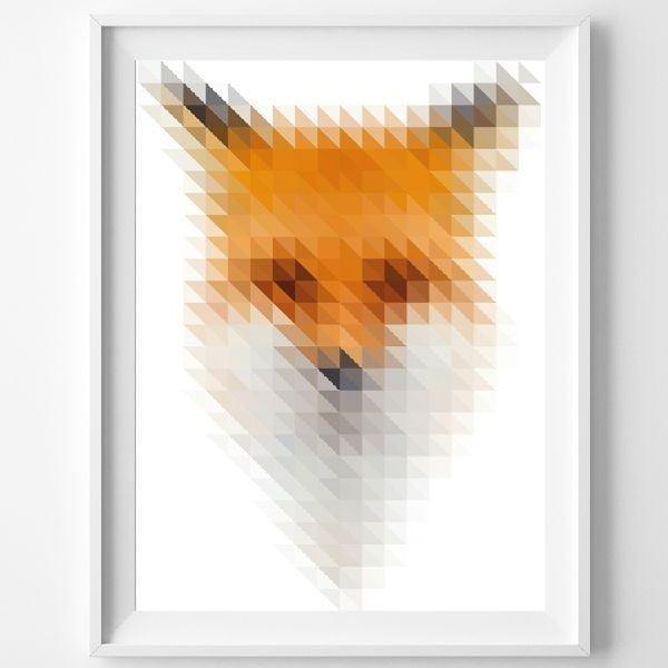 Plakát Blurry Fox, A3