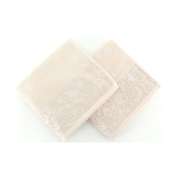Sada 2 bavlnených uterákov Burumcuk Beige, 50x90 cm
