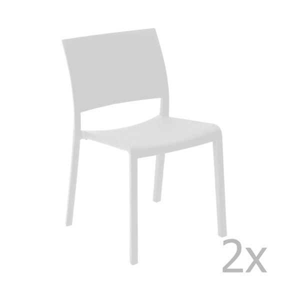 Sada 2 bílých zahradních jídelních židlí Resol Fiona