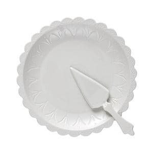 Set farfurie pentru tort și paletă Ladelle Bake, alb