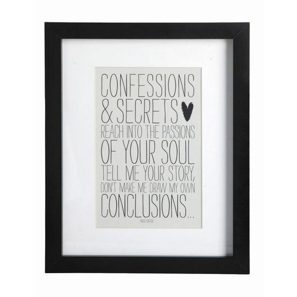 Obraz s rámem Confessions, 23x28 cm