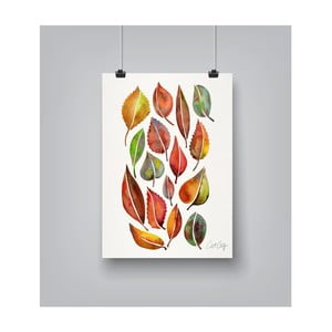 Poster Americanflat Fall Leaves Watercolour, 30 x 42 cm