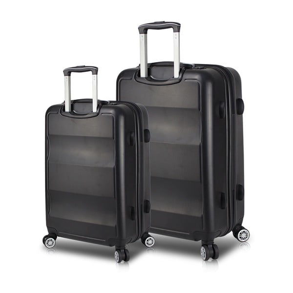 LASSO Large & Medium 2 fekete görgős bőrönd USB csatlakozóval - My Valice