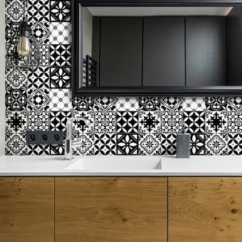 Set 30 autocolante pentru perete Ambiance Decal Tiles Azulejos Rosario, 10 x 10 cm de la Ambiance