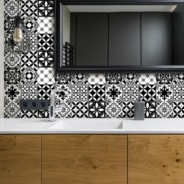Set 30 autocolante pentru perete Ambiance Decal Tiles Azulejos Rosario, 10 x 10 cm