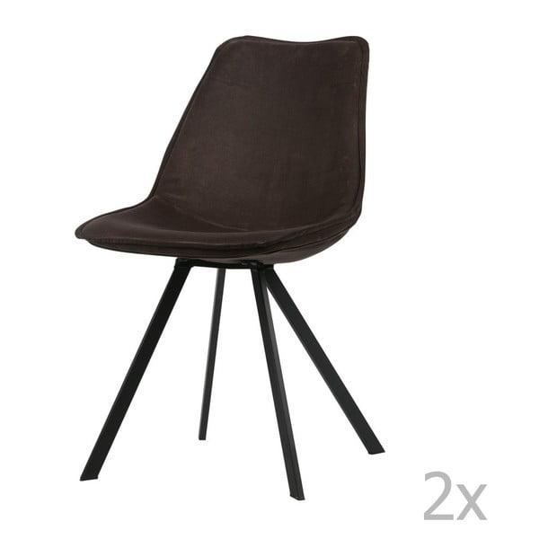 Sada 2 antracitově šedých jídelních židlí WOOOD Swen