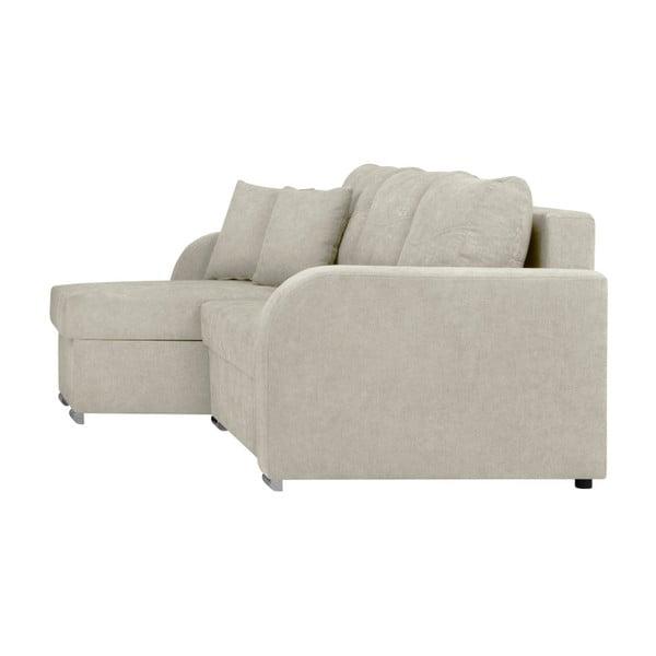 Canapea pe colț, extensibilă, cu 3 locuri și spațiu pentru depozitare Melart Louise, bej