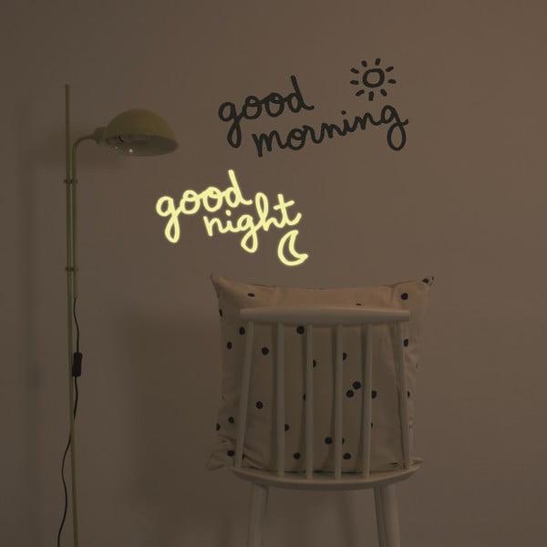 Ve tmě svítící samolepka Good Morning, Good Night, 28x31 cm