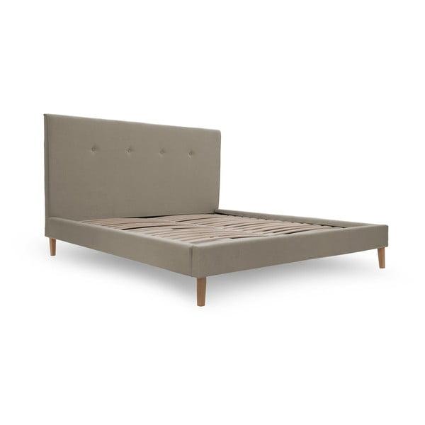 Tmavě béžová postel s přírodními nohami Vivonita Kent,160x200cm