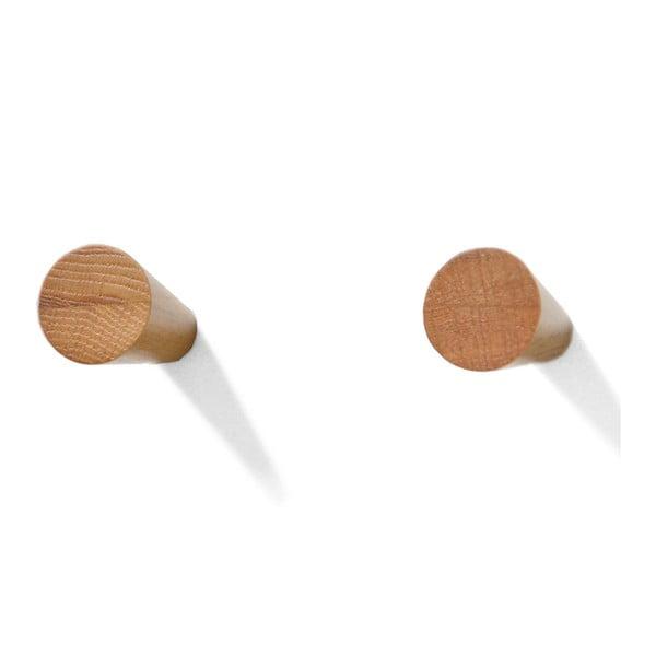 Sada 2 háčků z dubového dřeva Wireworks Mezza