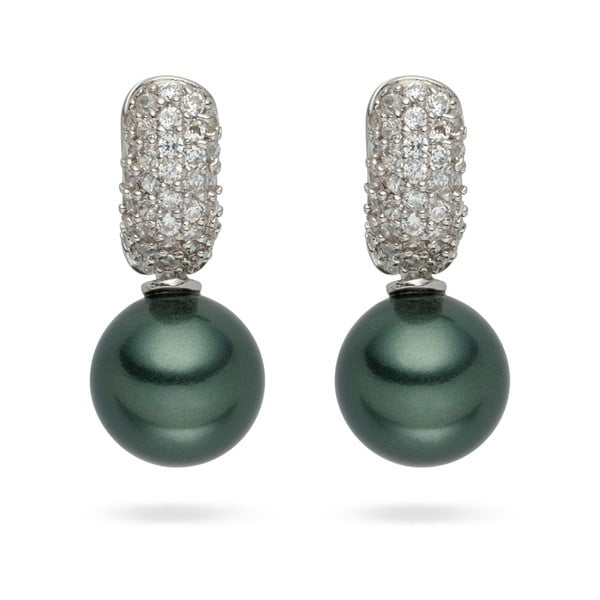 Tmavě zelené perlové náušnice Nova Pearls Copenhagen Helene