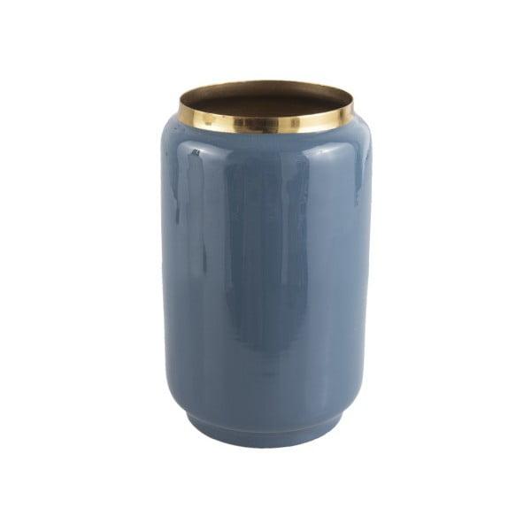 Vază cu detalii aurii PT LIVING Flare, înălțime 22 cm, albastru