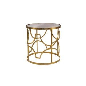 Odkládací stolek ve zlaté barvě s deskou z mangového dřeva Miloo Home Savoy, ⌀51cm