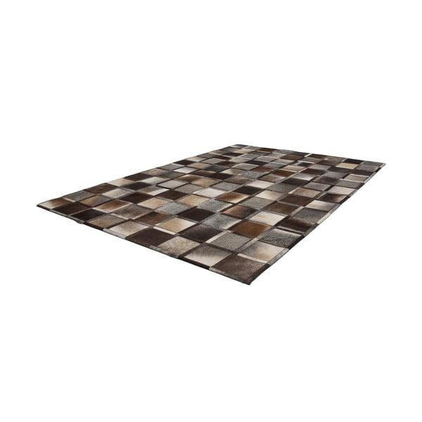 Šedo-hnědý kožený koberec Eclipse,120x170cm
