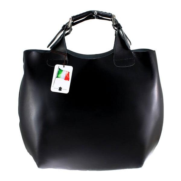 Černá kožená kabelka Chicca Borse Basso