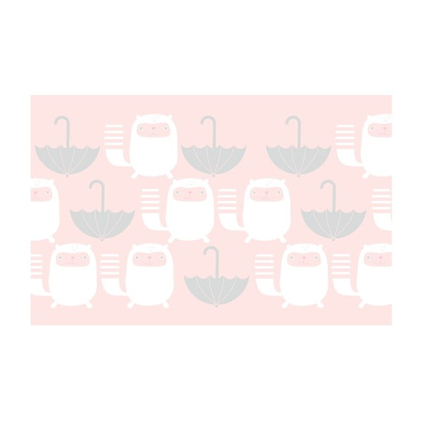 Bordura Happy kittens 511.5x46.5 cm, rúžovošedá