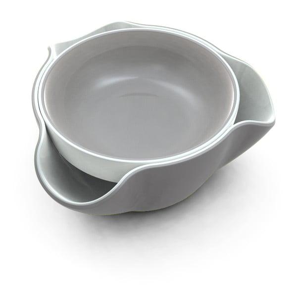 Set 2 boluri, Double Dish, alb/gri
