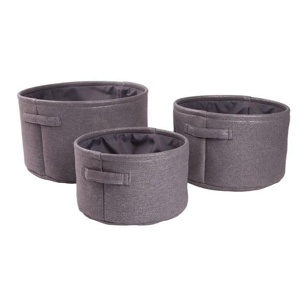 Sada 3 košíků Rubin, šedá