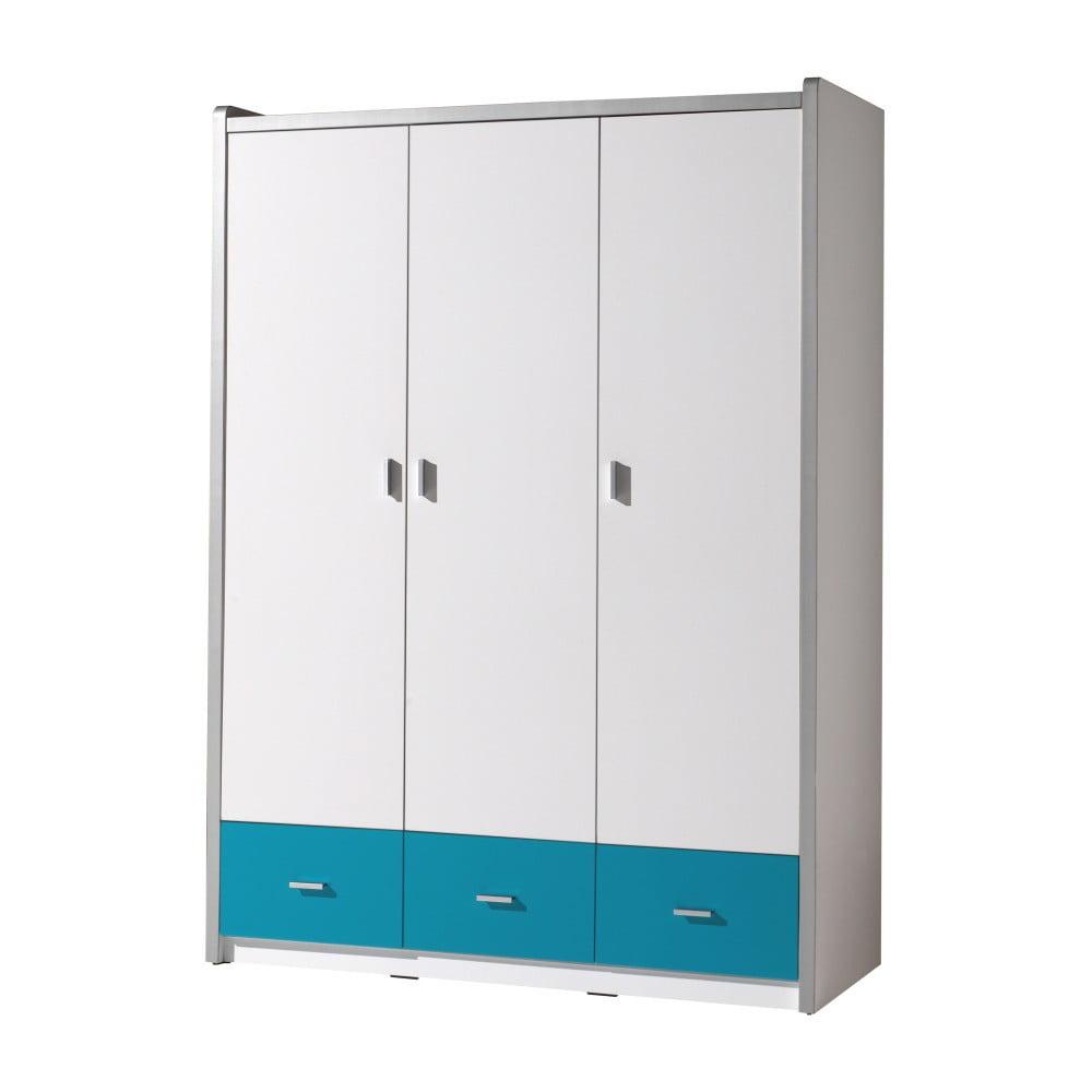 Bílo-tyrkysová šatní skříň Vipack Bonny, 202 x 140,5 cm