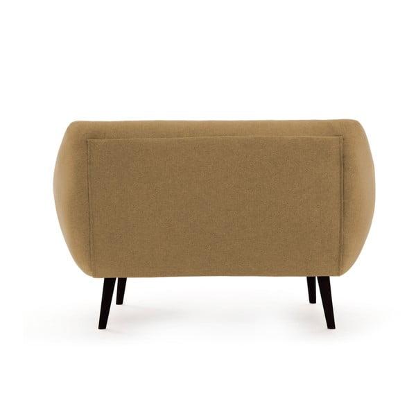 Canapea 2 locuri cu picioare negre Vivonia Kennet, nisip
