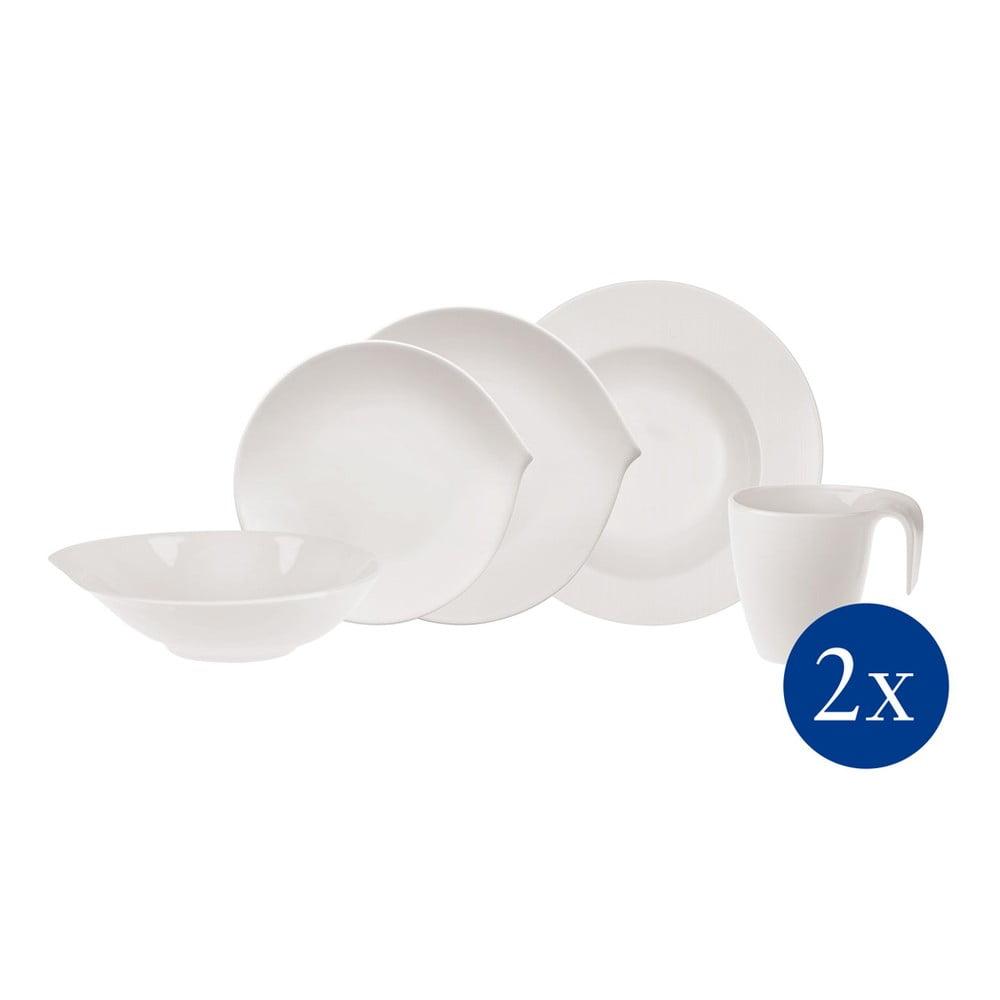 Sada 10 kusů bílého porcelánového nádobí Villeroy & Boch Flow