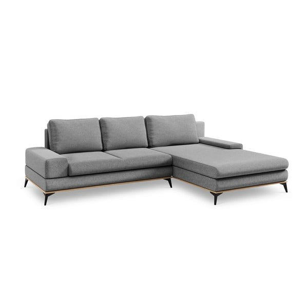 Canapea extensibilă de colț Windsor & Co Sofas Planet, pe partea dreaptă, gri
